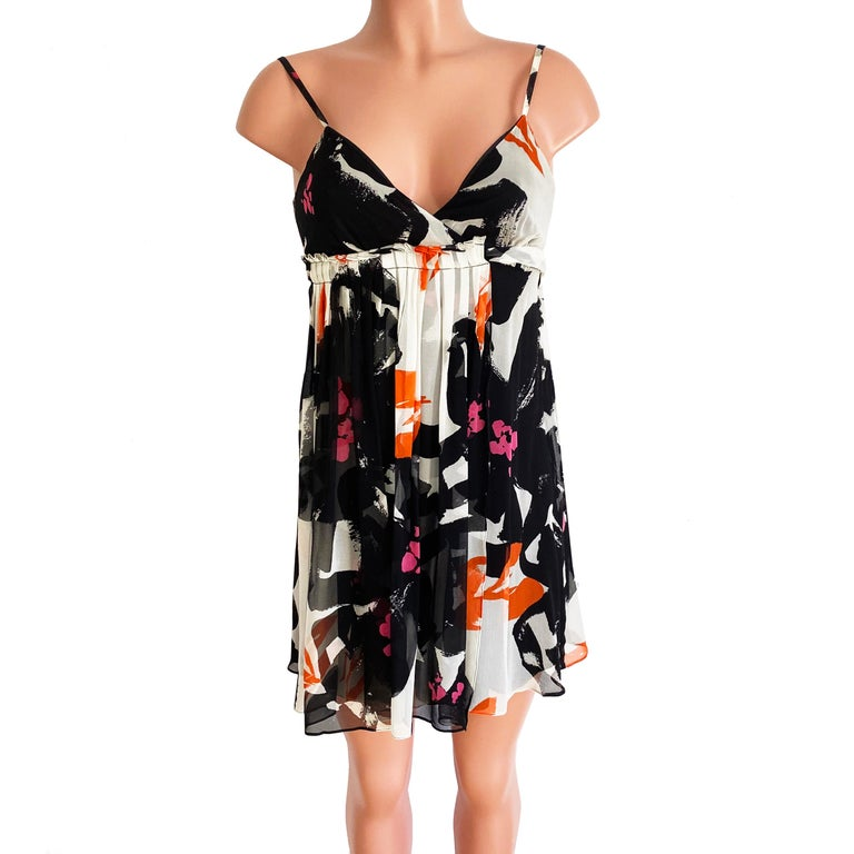 Black White Printed Silk Georgette Carefree Babydoll Dress For Sale 3