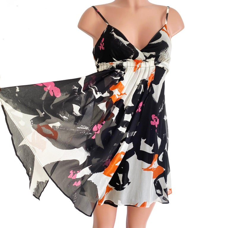 Black White Printed Silk Georgette Carefree Babydoll Dress For Sale 4