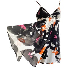 Black White Printed Silk Georgette Carefree Babydoll Dress