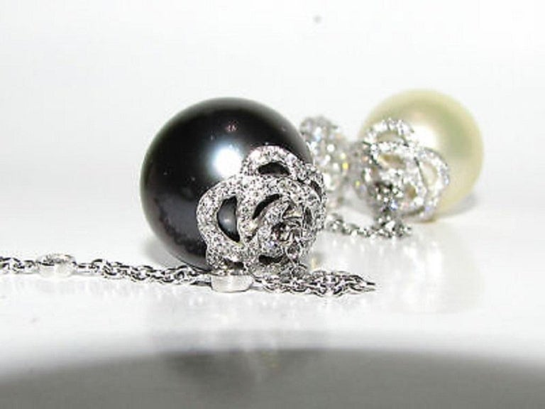 Black White South Sea and Tahitian Pearl Diamond Earrings Cluster For Sale 2