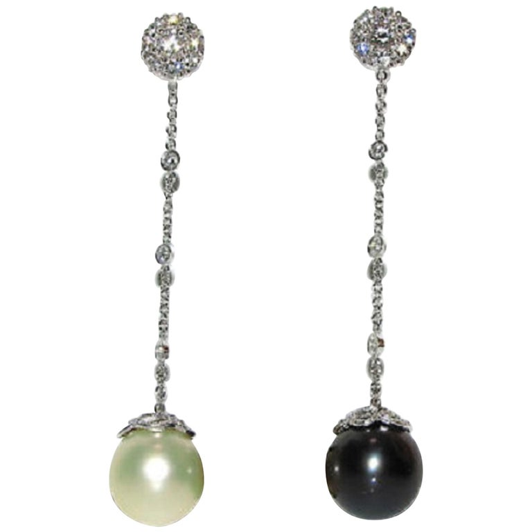 Black White South Sea and Tahitian Pearl Diamond Earrings Cluster For Sale