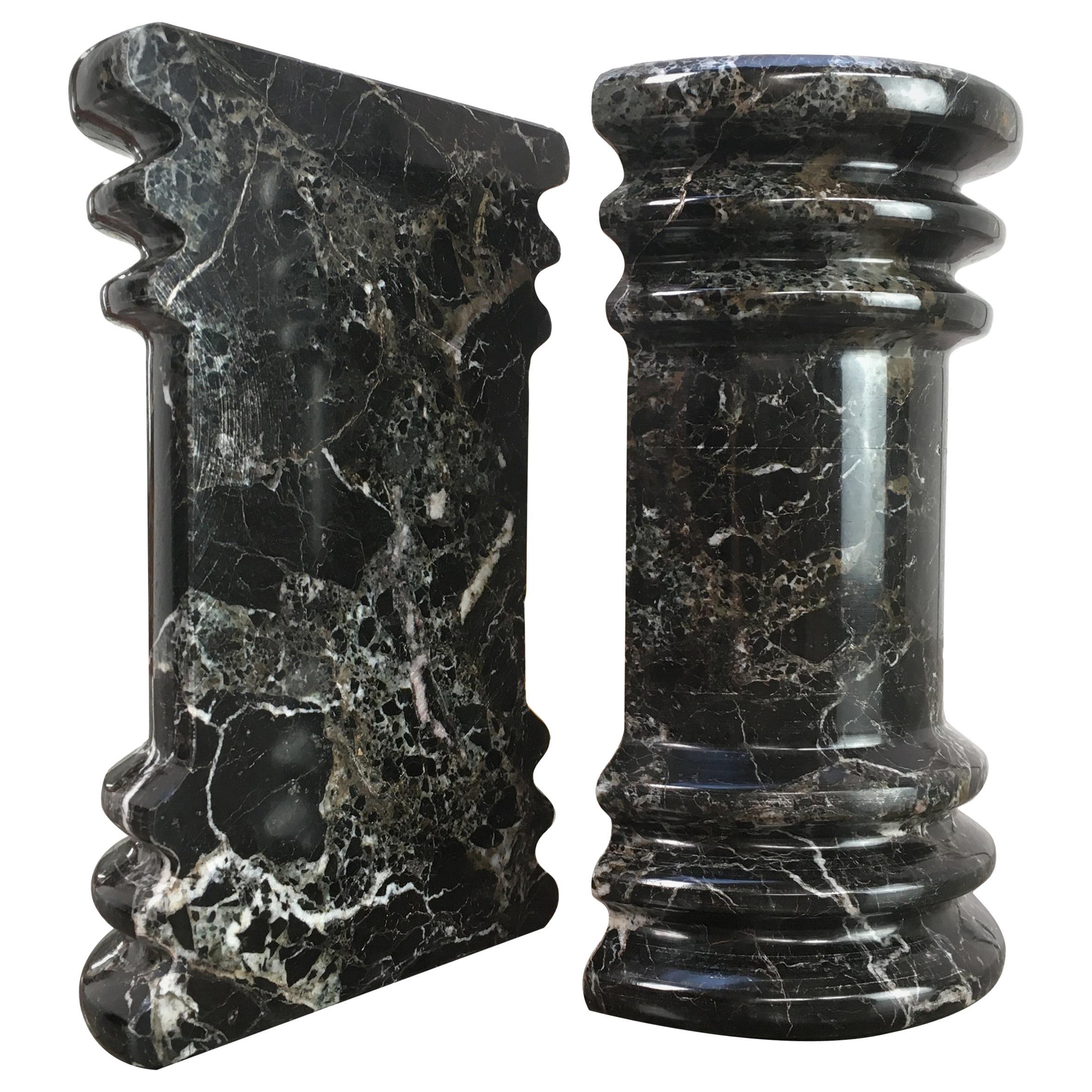 Black White Veined Marble Column Pedestal Bookends 1990s Postmodern Memphis