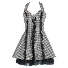 Black & white Vichy print dress Blumarine