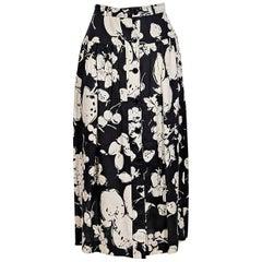 Black & White Vintage Valentino Fruit-Printed Linen Skirt