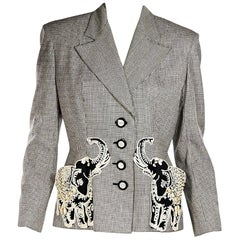 Black & White Vintage Valentino Wool Houndstooth Blazer