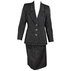 Black & White Vintage Yves Saint Laurent Wool Skirt Suit Set