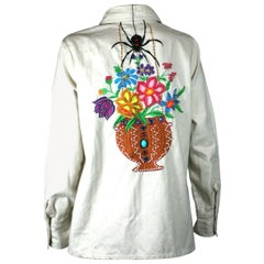 Black Widow Embroidered Cotton Shirt, Upcycled by Studio VL