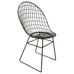 Black Wire Dining Chair with Beautiful Curves and Elegant Silhouet, circa 1960