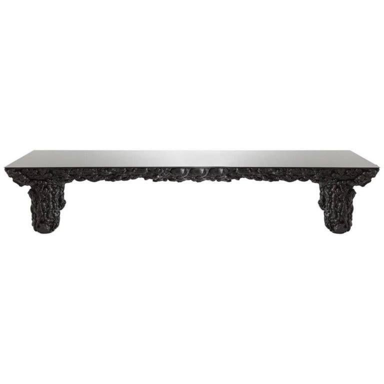 Spanish Black With Glass Top and Wood Contemporary Dining Table by Guillermo Santomá  For Sale