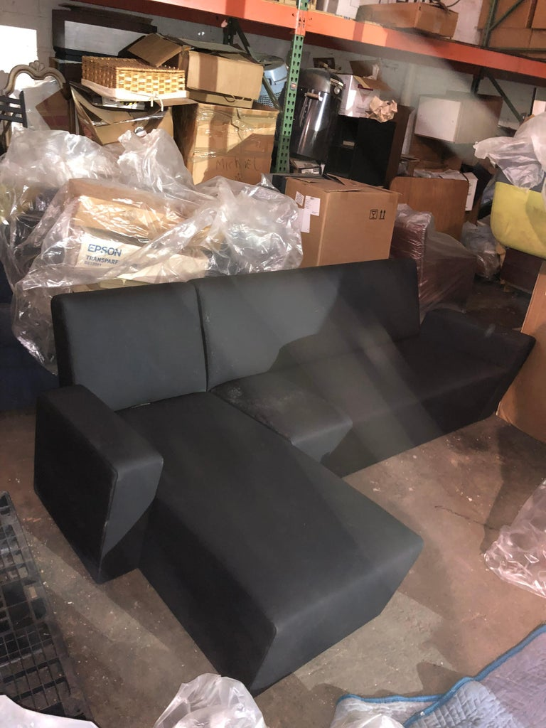 Fabric Black Wittmann Vienna Sectional Sofa For Sale
