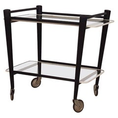 Black Wood and Glass Trolley by Cees Braakman for Pastoe, Dutch Design, 1950s