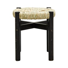 Black Wood and Rattan Stool by Charlotte Perriand for Meribel, circa 1950