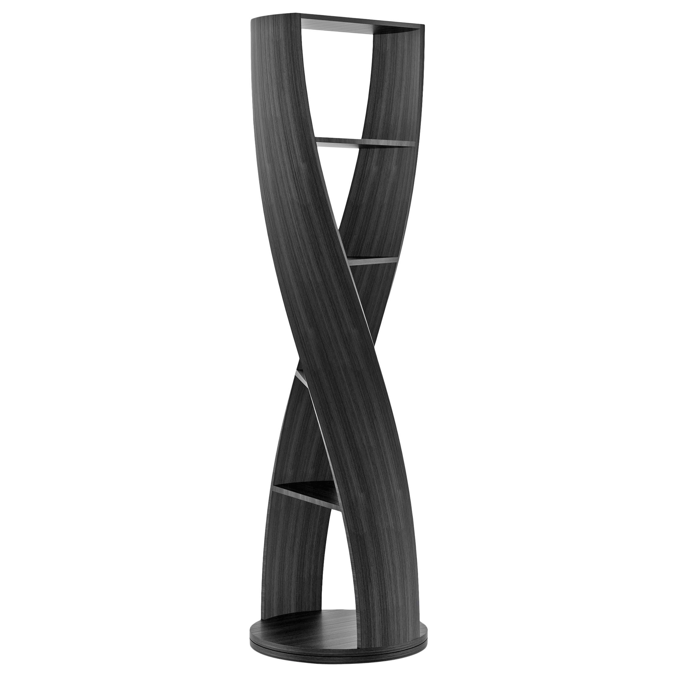 Black Wood Bookcase and Storage System Mini MYDNA Collection by Joel Escalona