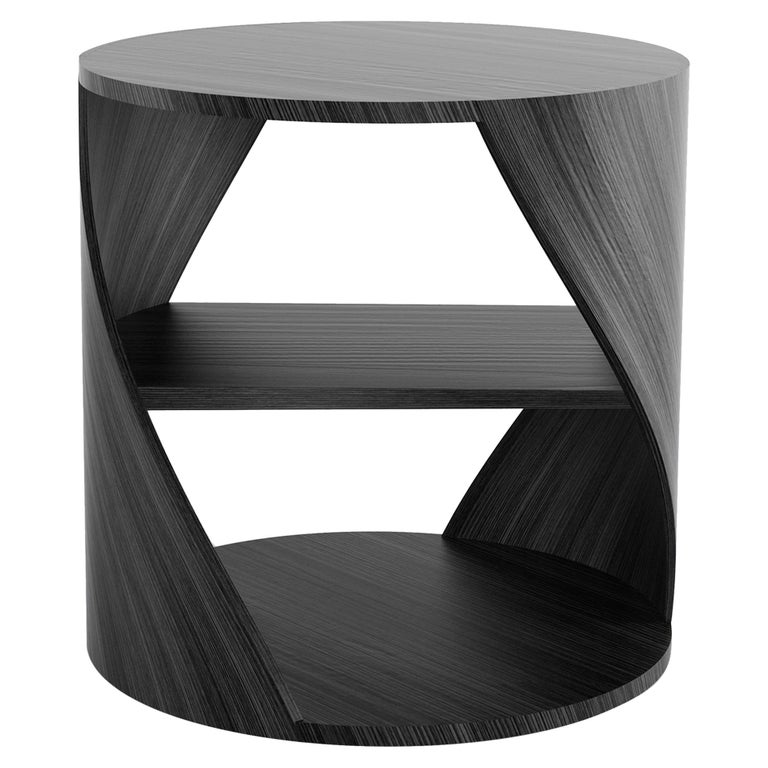 Black Wood Decorative Nightstand, MYDNA Side Table by Joel Escalona For Sale