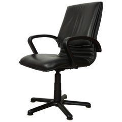 Black Wooden and Black Leather Swivel Office Design Armchair
