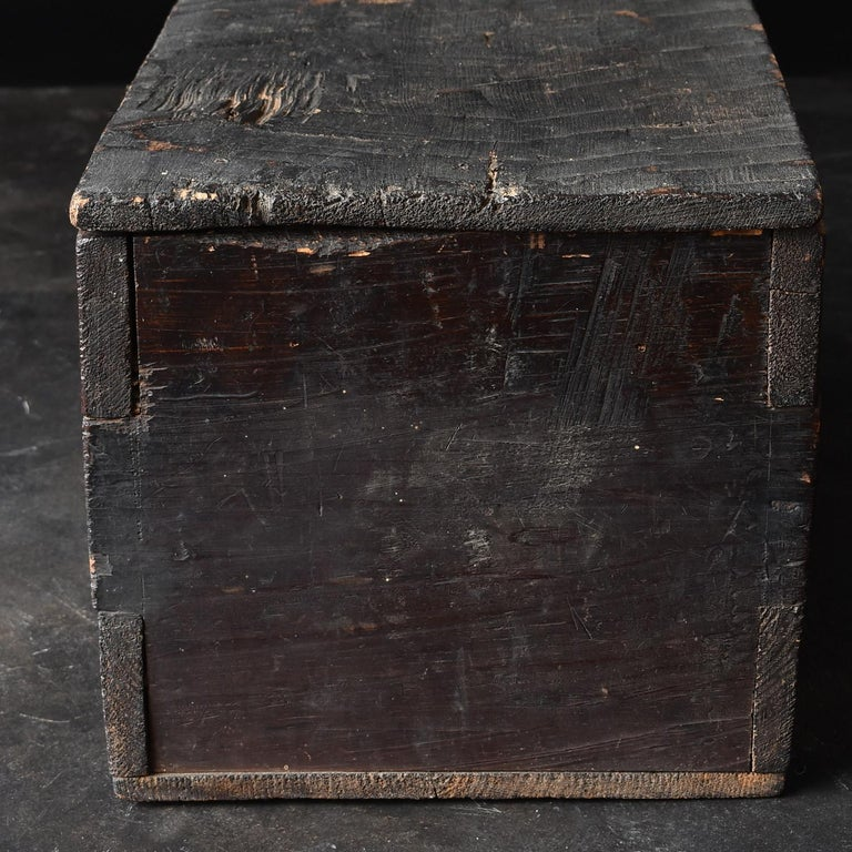 Cedar Black Wooden Box from the Edo Period '18th-19th Century' in Japan For Sale