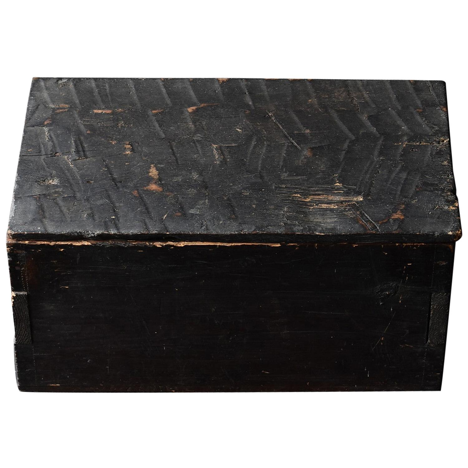 Black Wooden Box from the Edo Period '18th-19th Century' in Japan