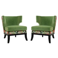 Black Wooden Feet and Green Velvet Jungle Pair of Armchairs