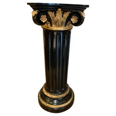 Black Wooden Painted Ionic Fluted Pedestal with Gilt Accents