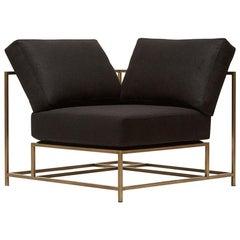 Black Wool and Antique Brass Corner Chair