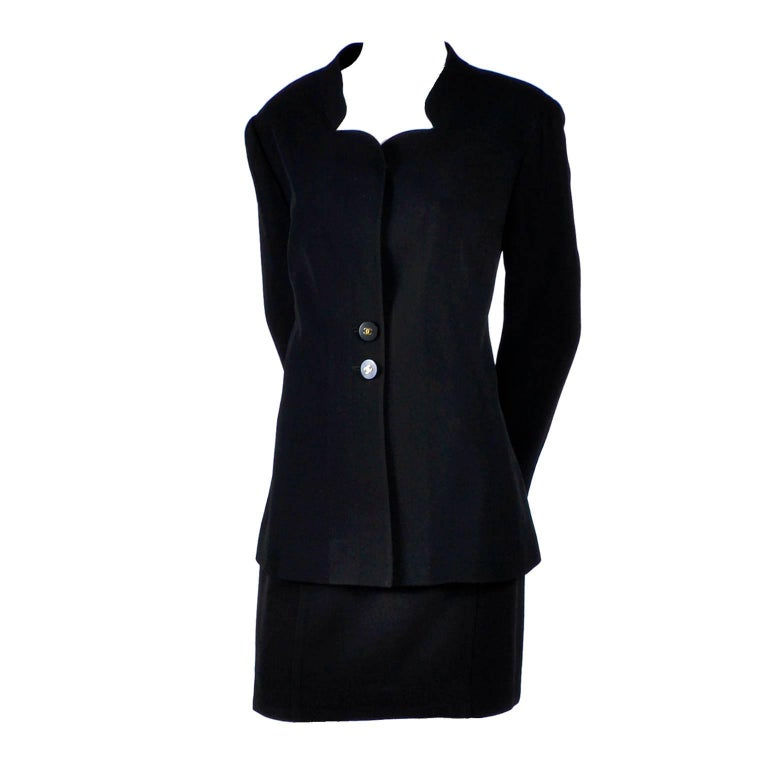 Black Wool Chanel Blazer and Skirt Suit Notched Collar Jacket