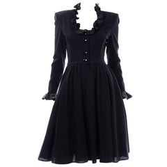 Black Wool Crepe Valentino Vintage Evening Dress With Ruffles and Overskirt