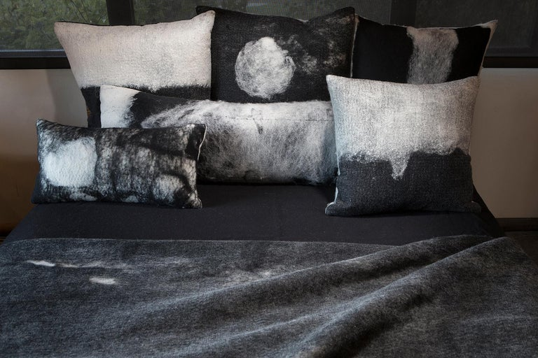 Hand-Crafted Black Wool Luna Throw Pillow, Heritage Sheep Collection For Sale
