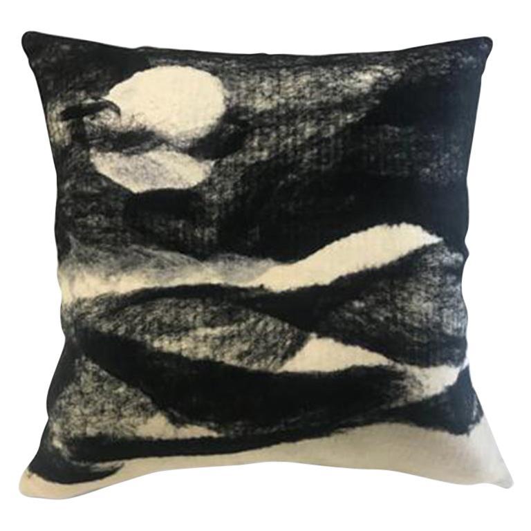Black Wool Luna Throw Pillow, Heritage Sheep Collection