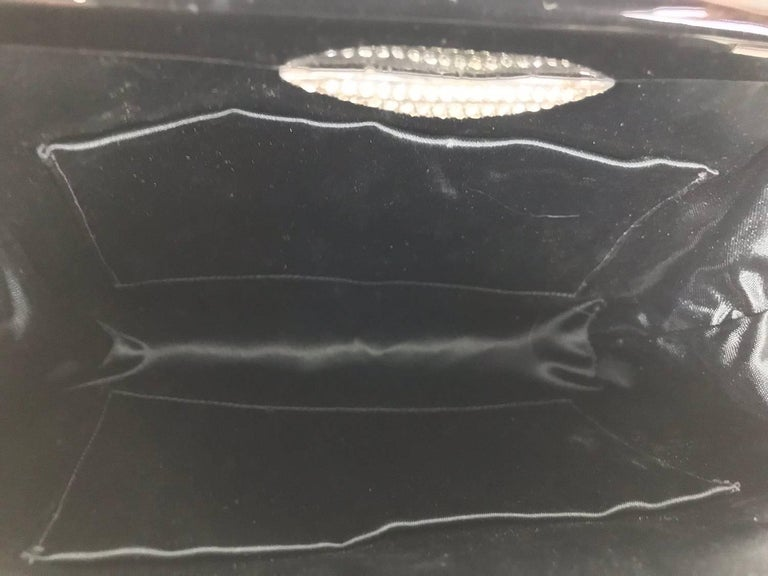 Women's Black woven silk enamel frame evening bag, 1950s For Sale