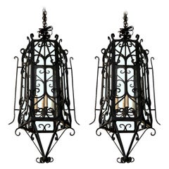 Black Wrought Iron Pair of Lanterns, 1950s