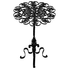 Black Wrought Iron Pedestal Drinks Table with Scrollwork Top