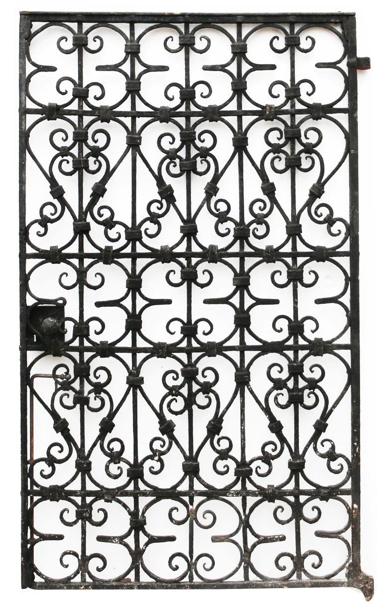 English Black Wrought Iron Pedestrian Gate, circa 1900 For Sale