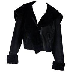 Black Yeezy Cropped Shearling Jacket