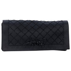 Black Yves Saint Laurent Beaded Satin Clutch