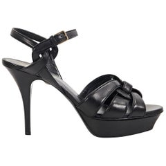 Black Yves Saint Laurent Leather Tribute Sandals