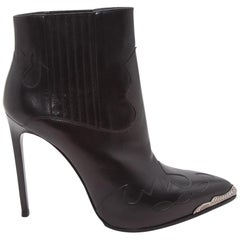 Black Yves Saint Laurent Leather Western Ankle Boots