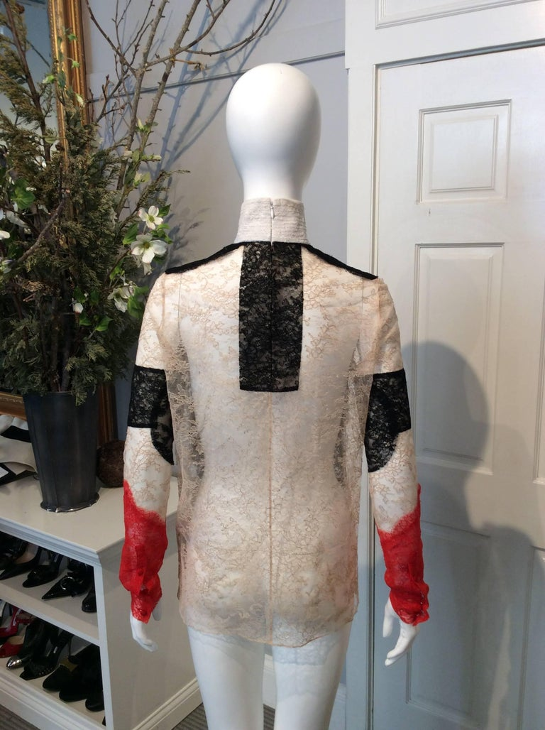 Black, Red, Ivory And Nude Lace High-Collared Givenchy Long-Sleeve Top Sz36(Us4) In Excellent Condition For Sale In San Francisco, CA