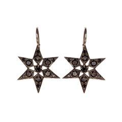 Black Diamond, White Gold 'Fancy Star' Earrings