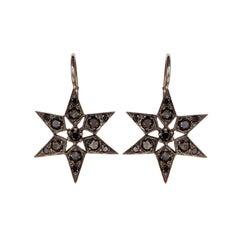 Blackbird and the Snow - Black Diamond, White Gold 'Fancy Star' Earrings