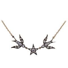 Diamond Bird Star Swallow Necklace