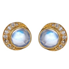 Gold Diamond Moonstone Full Moon Crescent Stud Earrings