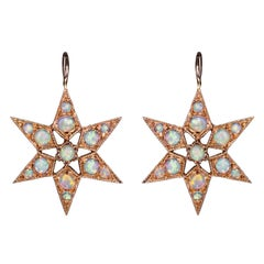 Rose Gold Opal Cabochon Star Victorian Vogue Earrings
