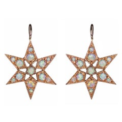 Blackbird and the Snow - Rose gold opal Star Victorian Vogue earrings