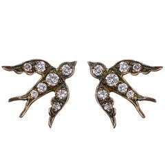 Blackbird and the Snow Sterling Silver Diamond Bird Stud Swallow Vogue Earrings