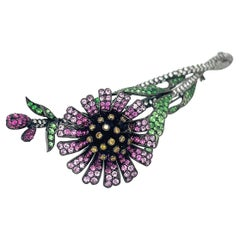 Blackened 18kt Gold Flower Brooch with Diamonds, Pink Sapphires and Tsavorite