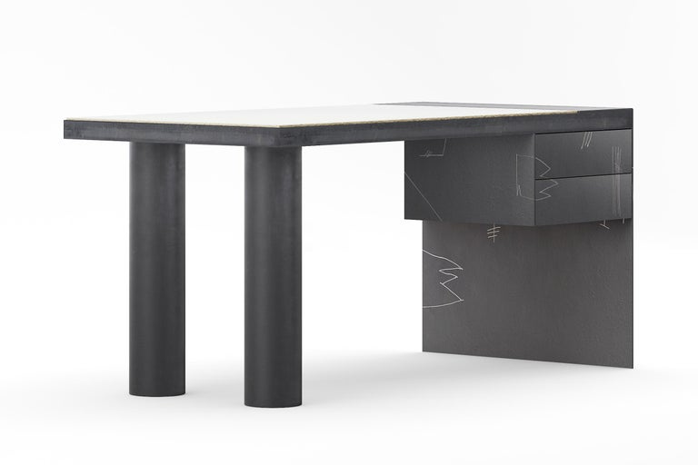 This desk is made of steel and Viroc. The steel is blackened and then the artist etches his drawings by hand.  (Please note each piece will vary with unique drawings and the image is only an example). The piece is sealed with several coats of