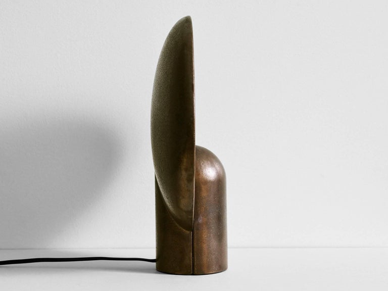 Australian Blackened Bronze Sconce Table Lamp by Henry Wilson For Sale