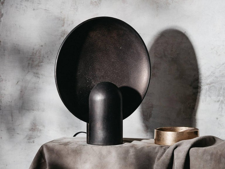 Blackened Bronze Sconce Table Lamp by Henry Wilson In New Condition For Sale In Copenhagen, DK