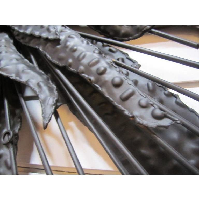 Blackened Brutalist Starburst Mirror In Good Condition For Sale In Dallas, TX