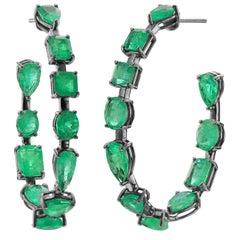 Nina Runsdorf Blackened Gold 14.37 Carat Mix Shape Emerald Hoop Earrings